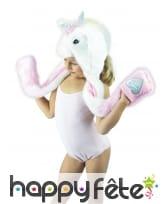 Bonnet écharpe licorne pour enfant