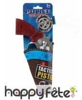 Badge et pistolet de police argentés en plastique, image 1