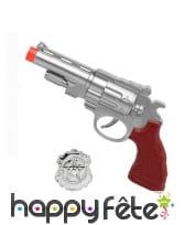 Badge et pistolet de police argentés en plastique