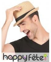 Borsalino en paille avec ruban noir, image 2