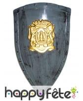 Bouclier gris avec blason doré , 75X45cm
