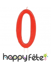 Bougie grand chiffre d'anniversaire rouge de 12cm, image 1