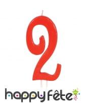 Bougie grand chiffre d'anniversaire rouge de 12cm, image 3