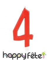 Bougie grand chiffre d'anniversaire rouge de 12cm, image 5