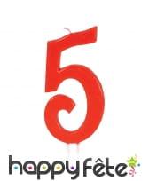 Bougie grand chiffre d'anniversaire rouge de 12cm, image 6