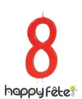 Bougie grand chiffre d'anniversaire rouge de 12cm, image 9