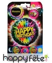 Ballon Happy Birthday LED lumineux de 50cm