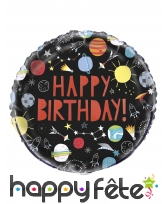 Ballon happy birthday noir galaxie de 45 cm
