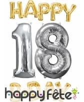 Ballons Happy B-day 18 alu doré et argenté