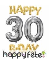 Ballons Happy B-day 30 alu doré et argenté