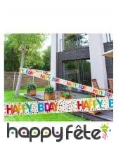 Bannière happy birthday multicolore à pois de 15 m