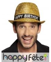 Borsalino happy birthday doré à paillettes, adulte