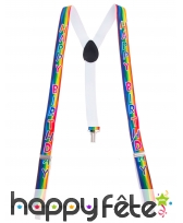 Bretelles Happy Birthday multicolores pour adulte