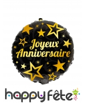 Ballon joyeux anniversaire rond noir de 45 cm, image 1