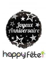 Ballon joyeux anniversaire rond noir de 45 cm, image 2