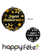 Ballon joyeux anniversaire rond noir de 45 cm