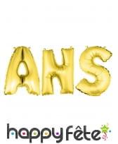 Ballons lettres ANS dorés de 36 cm