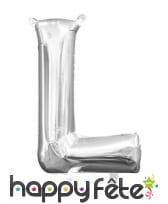 Ballon lettre en aluminium argenté de 33 cm, image 12