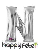 Ballon lettre en aluminium argenté de 33 cm, image 14