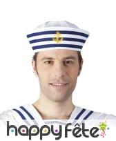 Bob marin blanc et bleu