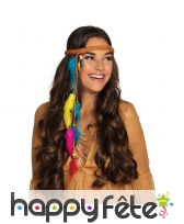 Bandeau marron d'indien avec plumes colorées