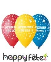 """Ballons multicolores """"joyeuses fêtes"""""""