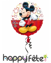Ballon Mickey Mouse rond rouge de 43 cm