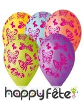 Ballons motifs papillons colorés