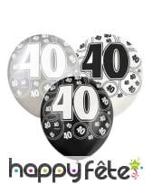 Ballons nombre anniversaire noir gris blanc, image 6