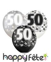 Ballons nombre anniversaire noir gris blanc, image 7