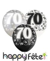 Ballons nombre anniversaire noir gris blanc, image 8