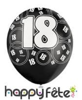 Ballons nombre anniversaire noir gris blanc, image 1