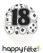 Ballons nombre anniversaire noir gris blanc, image 2