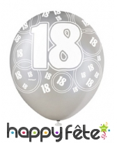 Ballons nombre anniversaire noir gris blanc, image 3