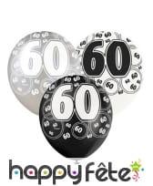 Ballons nombre anniversaire noir gris blanc, image 10