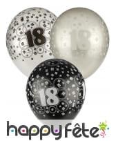 Ballons nombre anniversaire noir gris blanc, image 4