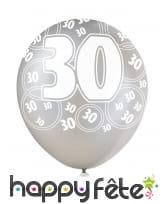 Ballons nombre anniversaire noir gris blanc, image 5