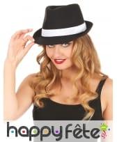 Borsalino noir avec ruban blanc, luxe, image 1