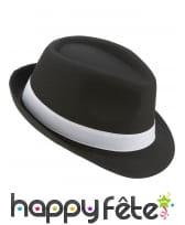 Borsalino noir avec ruban blanc, luxe
