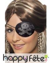 Bandeau noir de pirate. Noir argenté