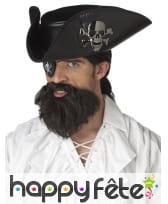 Barbe noire de pirate avec moustache pour adulte