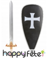 Bouclier noir de croisé avec épée pour enfant