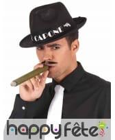 Borsalino noir imprimé Al Capone blanc, image 1