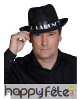 Borsalino noir imprimé Al Capone blanc, image 2