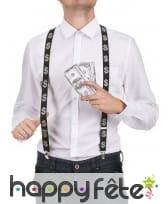 Bretelles noires imprimé dollar argenté
