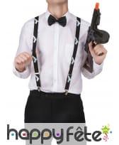 Bretelles noires imprimé revolver