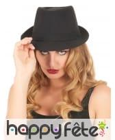 Borsalino noir uni, modèle luxe, image 1