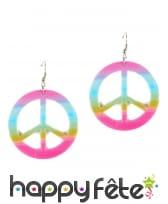 Boucles peace and love dégradé de couleurs