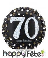 Ballon rond 70 ans noir argent de 71 cm