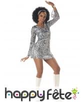 Bandeau robe courte disco zébrée effet brillant
